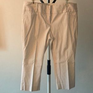 White stretch ankle length pants
